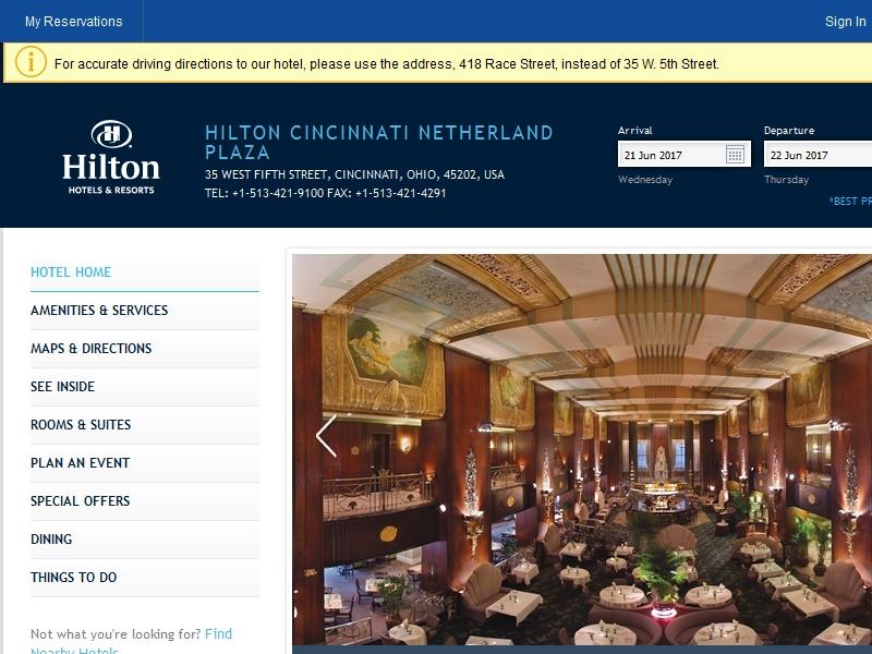 Hilton Cincinnati  Netherland Plaza