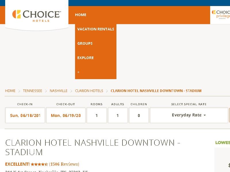 Clarion Hotel  Nashville Downtown - Stadium